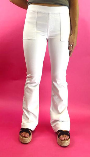 Hold On White Flare Jeans