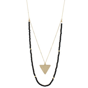 Black Beaded Gold Triangle Layer Necklace
