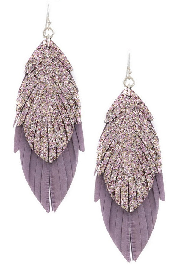 I Feel Good Leather Feather Earrings