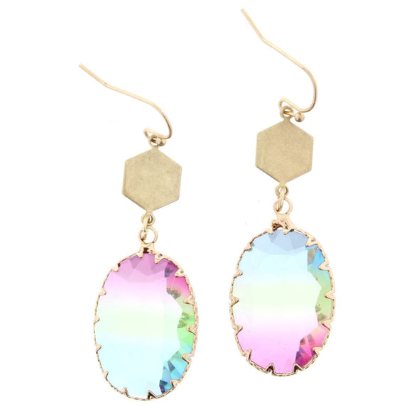 Luminous Earring Collection - Oval Multi Colored Crystal