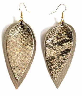 Snake Skin Layered Teardrop Earrings