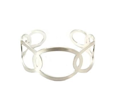 Silver Open Circle Layered Cuff Bracelet