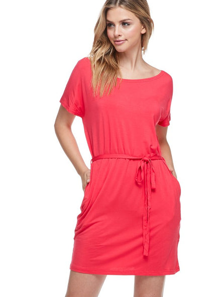 The Way It Goes Piko Dress - Watermelon