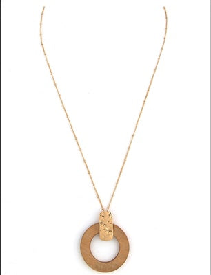 Gold Chain and Wood Circle Necklace