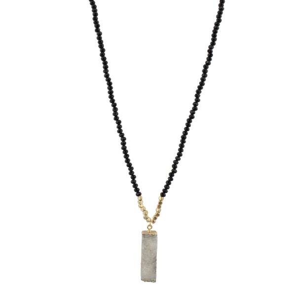 Black Beaded Druzy Rectangle Necklace