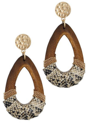 Crashing Down Wood Teardrop Earrings
