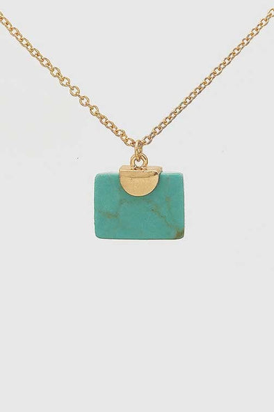 Natural Stone Square Charm Necklace