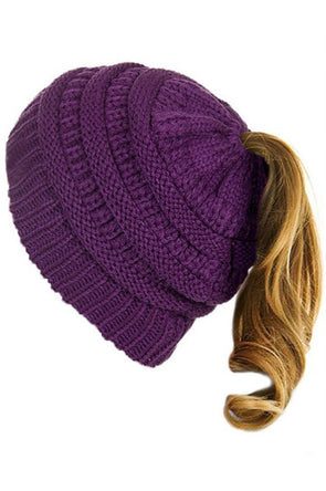 Knit Messy Bun Beanie - Multiple Colors