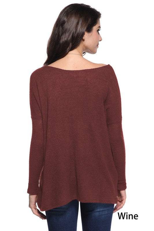Give Me More Piko Sweater - Wine
