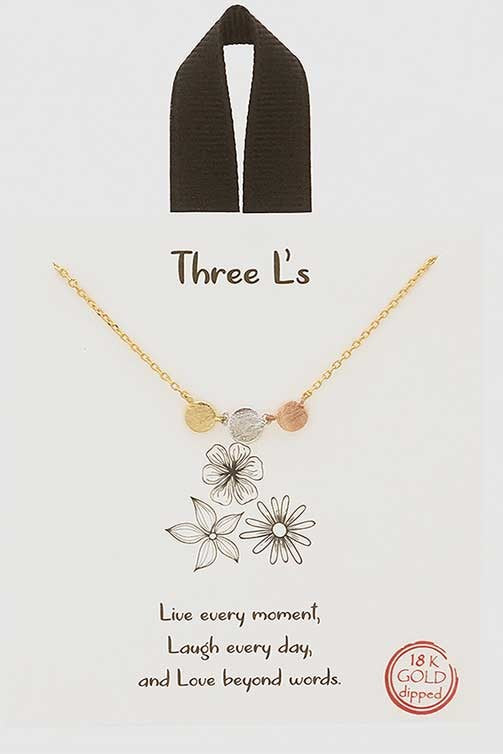 Three L Charm Necklace
