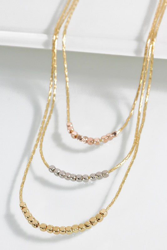 Metal Bead Three Strand Necklace - Multiple Colors