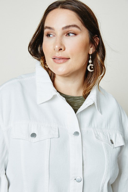 Feeling Some Type Of Way White Denim Jacket - Plus Size