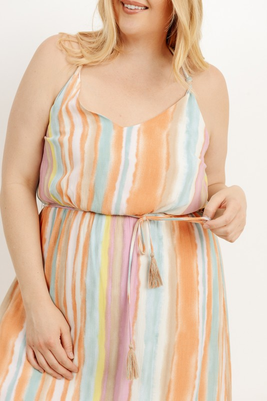 Looking For You Striped Maxi Dress - Plus
