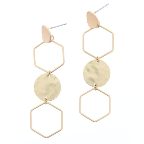 Luminous Earring Collection - Gold Hexagon Drop
