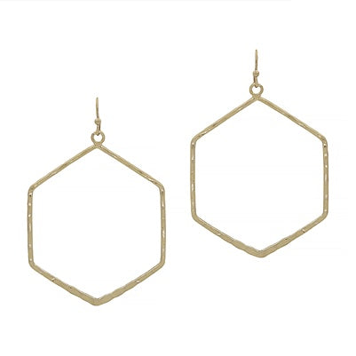 Matte Gold Hexagon Earrings