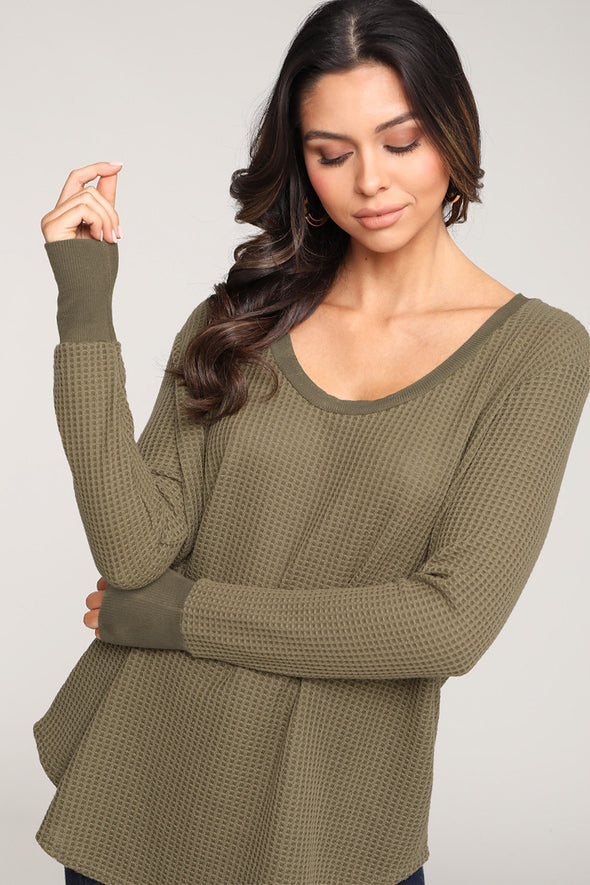 When Cozy Calls Waffle Knit Top - Olive