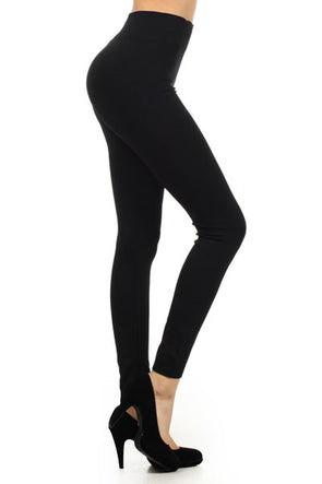 Fleece Leggings - Black Plus Size