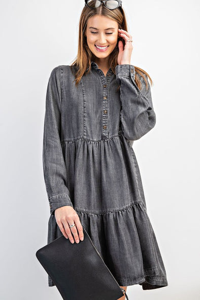 Dearest Friend Black Denim Dress