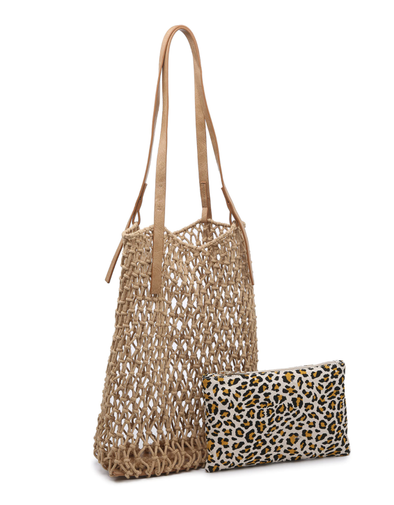 Vida Macrame Bag With Bonus Bag - Camel