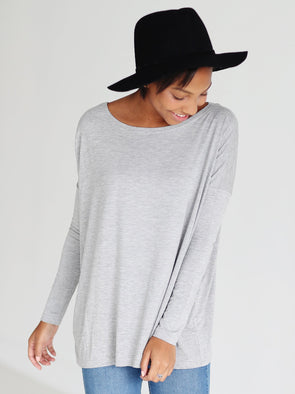 Close to Perfect Piko Top - Heather Gray