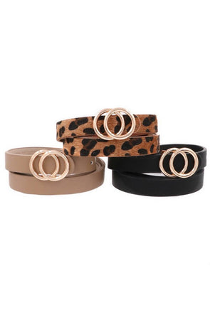 Metal Ring Buckle Belt - Multiple Colors