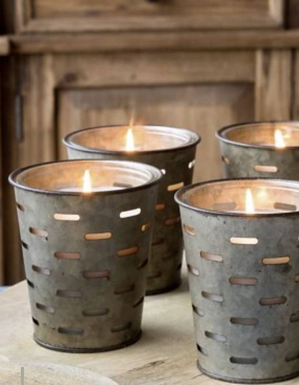Olive Bucket Candle - Noble Fir