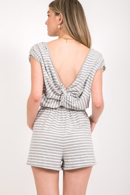 Casually Waiting Striped Romper
