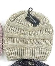 Textured Knit Messy Bun Beanie -  Multiple Colors