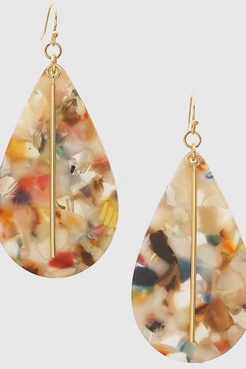 Acetate Teardrop Earrings - Multiple Colors