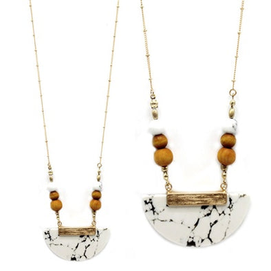 White Half Moon Natural Stone Necklace
