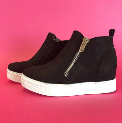 Rise Wedge Sneaker - Black Suede