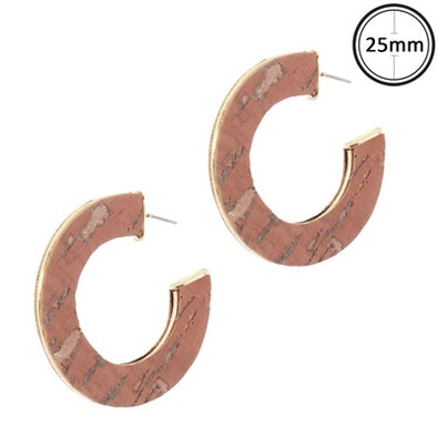 Pink Cork Hoop Earrings