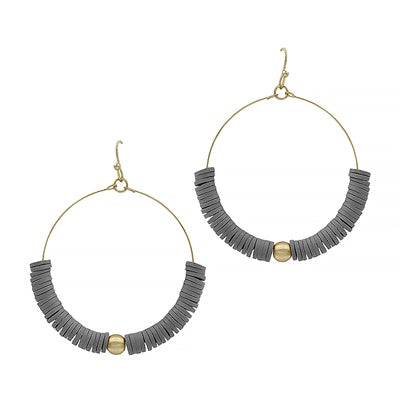 Grey Gold Ball Earrings
