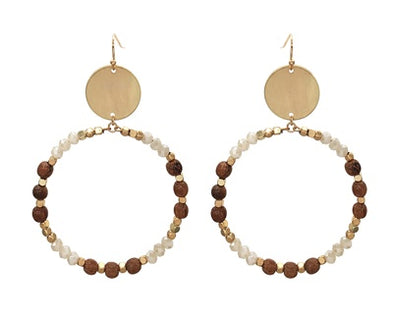 Wood and Natural Crystal Earrings