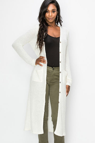 Just Rolling Along Long Cardigan - Cream