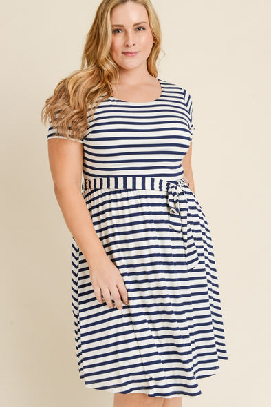 Between the Lines Dress - Plus