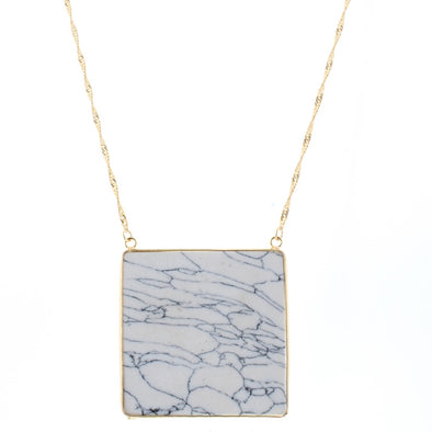 Caddie Collection Necklace - Square Howlite