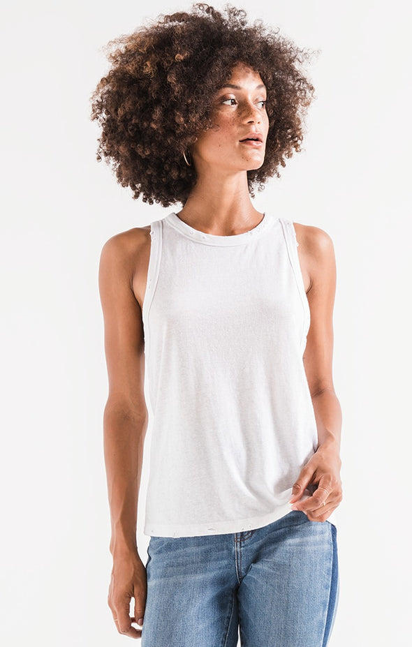 The Triblend Racer Tank - White