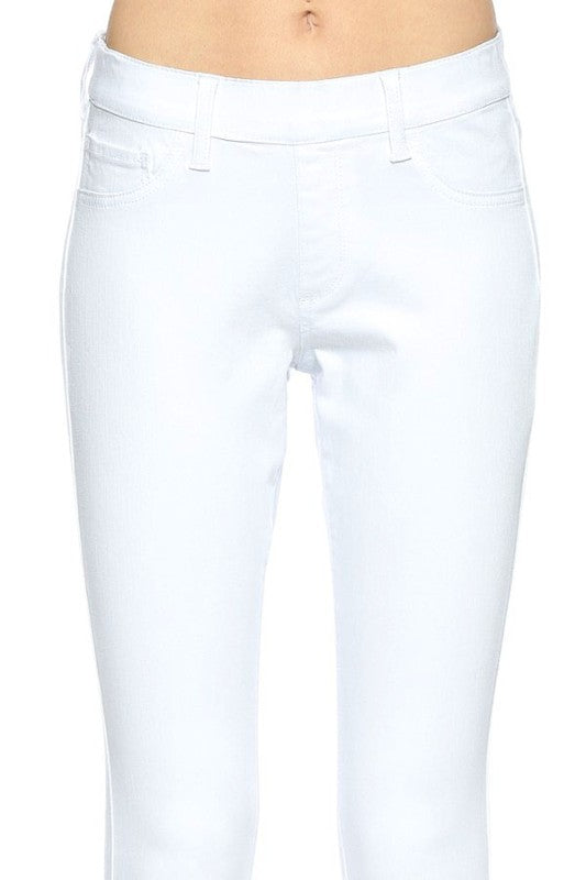 One For Me White Pull On Skinny Jeans