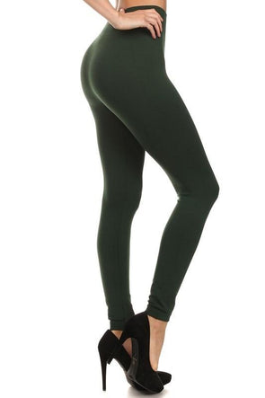 Fleece Leggings - Olive Plus Size