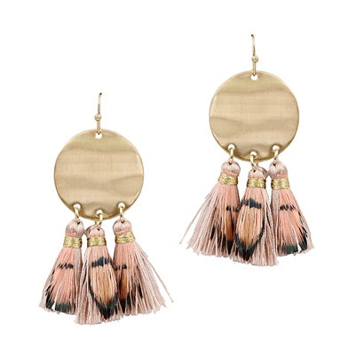 Pink Feather and Tassel Earrings