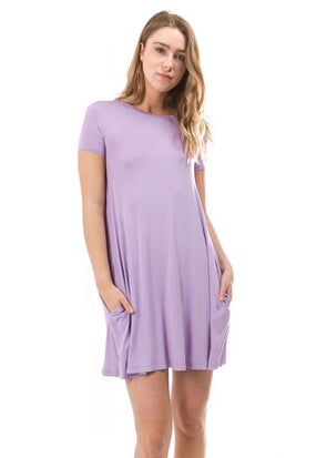 Lead the Day Piko Dress - Light Purple