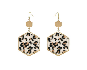 White Cheetah Hexagon Earring