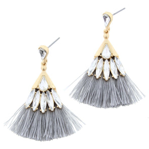 Luminous Earring Collection - Grey Rhinestone Tassel
