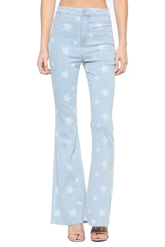 Hold On High Rise Star Super Flare Jeans