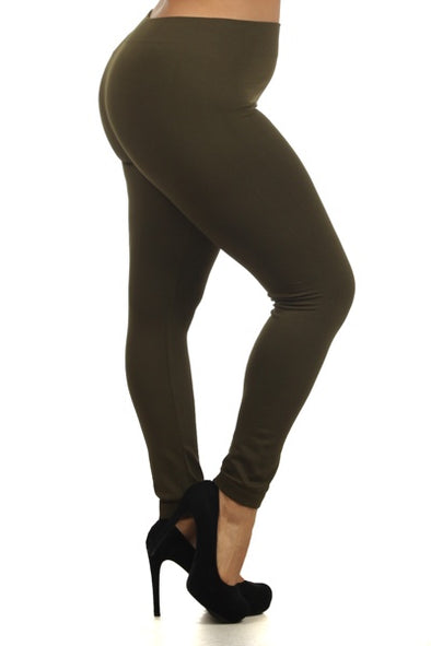 Fleece Leggings - Army Green Plus Size