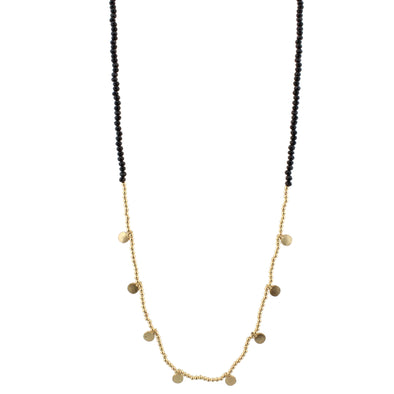 Black Beaded Gold Disc Necklace
