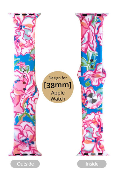 Blue and Pink Print Apple Watch Band