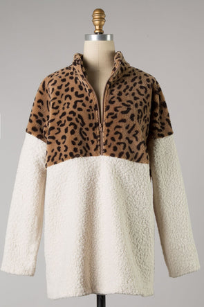 Over You Cheetah Sherpa Pullover