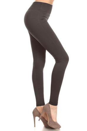 Fleece Leggings - Charcoal One Size